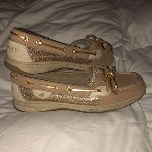 Womens gold Sperry boat shoes